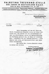 Une lettre datée du 9 novembre 1938, qui refuse à Regina Freimann, l'arrière grand-mère de Jonathan Wittenberg, la permission d'émigrer et d'échapper à l'occupation nazie. A cause de la bureaucratie, Regina finira par périr à Auschwitz. (Crédits : autorisation)