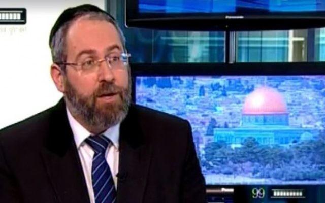 Le grand rabbin ashkénaze David Lau sur le plateau de la  chaîne de la Knesset le 7 Juin 2016 (Capture d'écran)
