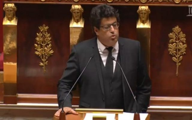 Le député français Meyer Habib à l'Assemblée nationale à Paris, le 28 novembre 2014. (Crédit : capture d'écran)