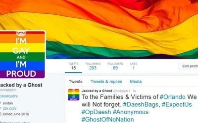Capture d'écran d'un compte de l'Ei piraté par Anonymous (Crédit : Twitter)