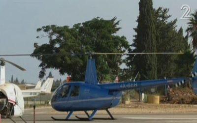 Un hélicoptère civil israélien qui est entré dans l'espace aérien libanais, le 2 juin 2016 (Crédit : capture d'écran : Deuxième chaîne)