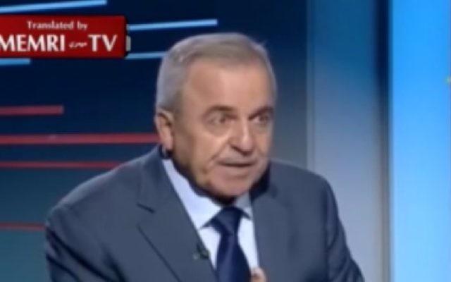 Le député du Hezbollah Walid Sukkarieh s'exprime sur la chaîne de groupe terroriste al-Manar TV le 18 juin 2016 (Crédit : capture d'écran/MEMRI)