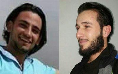 Khalid Muhamra (à gauche) et Muhammad Muhamra (à droite), les deux cousins palestiniens de Yatta, un village de Cisjordanie, qui ont mené l'attentat terroriste du marché Sarona de Tel Aviv et tué 4 personnes, le 8 juin 2016. (Crédit : autorisation)