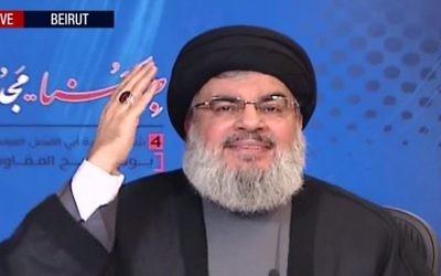 Le dirigeant du Hezbollah Hassan Nasrallah donne un discours depuis Beyrouth au Liban, le 12 mai 2016 (Crédit : capture d'écran Press TV)