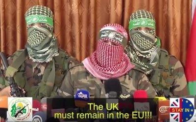 Vidéo parodique de l'organisation de la droite nationale israélienne Regavim montrant le Hamas appelant les Anglais à voter contre le maintien du Royaume-Uni dans l'Union européenne, diffusée en juin 2016. (Crédit : capture d'écran YouTube/Regavim)