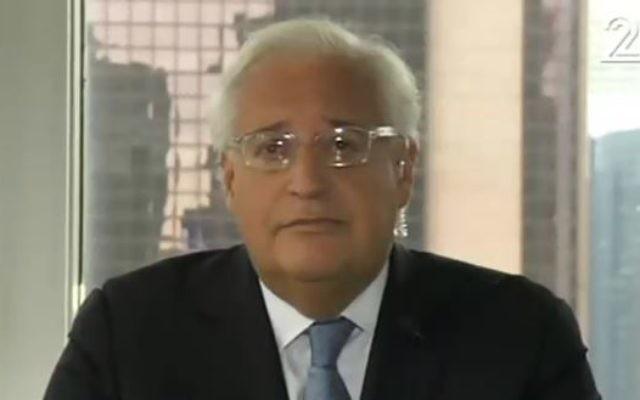 David Friedman, conseiller de Donald Trump, sur la Deuxième chaîne israélienne, le 22 juin 2016. (Crédit : capture d'écran Deuxième chaîne)