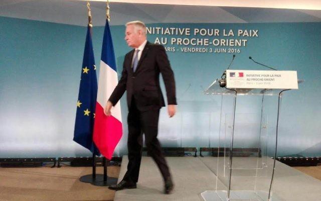 Jean-Marc Ayrault, le 3 juin 2016 à Paris (Crédit : Times of Israel)