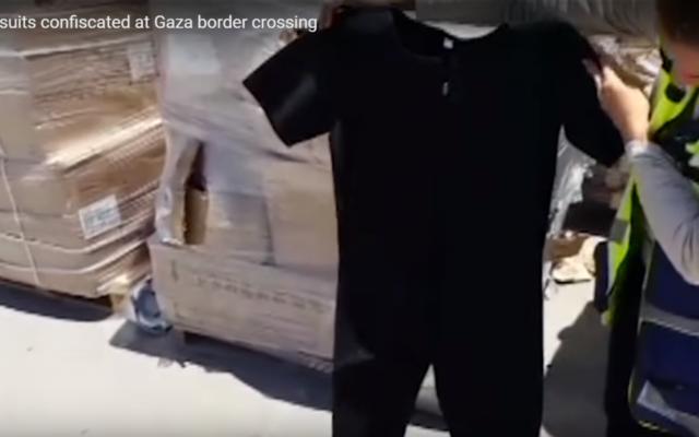 Les forces de défense israéliennes ont intercepté des combinaison de plongée passées en contrebande vers Gaza. Illustration. (Crédit : capture d'écran YouTube)