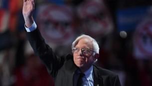 Bernie Sanders, sénateur du Vermont et ancien candidat de la primaire démocrate, au premier jour de la Convention nationale démocrate, à Philadelphie, le 25 juillet 2016. (Crédit : AFP/Robyn Beck)