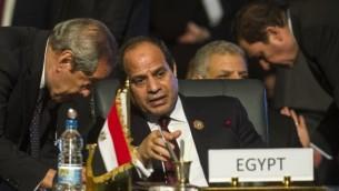Le président égyptien Abdel Fattah el-Sissi (au centre) au cours d'un sommet sur l'Afrique, à Charm el-Sheikh, le 10 juin 2015. (Crédit : AFP/Khaled Desouki)