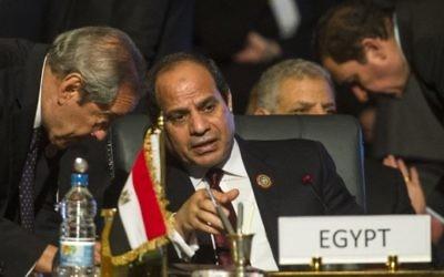 Le président égyptien Abdel Fattah el-Sissi (au centre) au cours d'un sommet sur l'Afrique, à Charm el-Sheikh, le 10 juin 2015. (Crédit : Khaled Desouki/AFP)