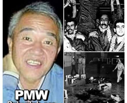 """Avec une photo de l'attaque montrant des mares de sang sur le sol près d'un bagage déchiré, le Fatah a envoyé ses """"hommages"""" au """"héros"""" survivant de l'attaque, le meurtrier Kozo Okamoto, sur Facebook, le 17 mai 2016. (Crédit : Palestinian Media Watch)"""