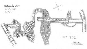 Plan de la catacombe Vigna Randanini par Jean-Baptiste Frey publié dans la Rivista di Archeologia Cristiana 10 [1933] (Crédit : autorisation de Jessica Dello Russo/ Société internationale des catacombes)