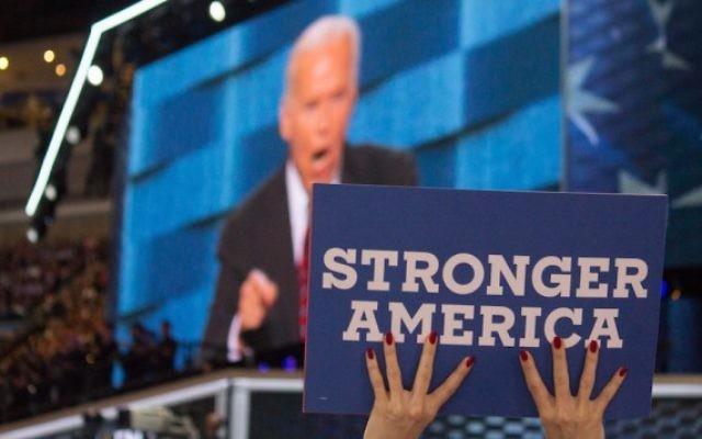 Le vice-président des Etats-Unis Joe Biden à la Convention nationale des démocrates, à Philadelphie, lors de la soirée sur la sécurité nationale, le 27 juillet 2016 (Crédit : DNC Flickr)
