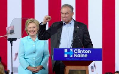 Tim Kaine, sénateur démocrate de Virginie, pendant un meeting de campagne d'Hillary Clinton à Miami, le 23 juillet 2016. (Crédit : Gustavo Caballero/Getty Images/AFP)