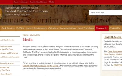 Capture d'écran du site du tribunal fédéral du district central de Californie