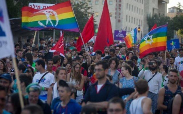 Participants à la Gay Pride annuelle de Jérusalem, le 30 juillet 2015. (Crédit : Miriam Alster/Flash90)