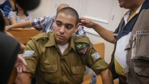 Elor Azaria devant la Cour militaire de Jaffa, le 5 juillet 2016. (Crédit : Flash90)