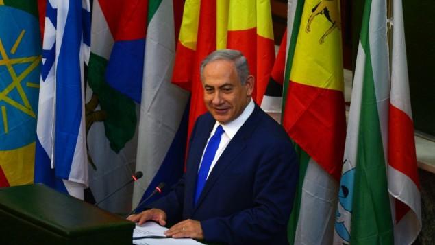Le Premier ministre Benjamin Netanyahu s'adresse au parlement éthiopien à Addis Abeba, le 7 juillet 2016. (Crédit : Kobi Gideon/GPO)