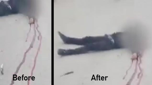 """Une comparaison """"avant et après"""" de la position du couteau pendant un incident à Hébron où un soldat, Elor Azaria, a été filmé en train de tirer à la tête sur un assaillant palestinien neutralisé, 15 minutes après une attaque au couteau, le 24 mars 2016. (Crédit : capture d'écran Deuxième chaîne)"""