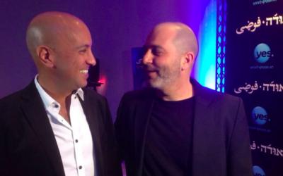 Avi Issacharoff, à gauche, et Lior Raz, les co-créateurs de la série télé israélienne 'Fauda' (Crédit : autorisation YES)