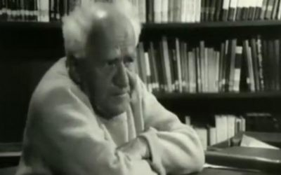 David Ben-Gurion, le premier Premier ministre d'Israël, dans une interview récemment découverte, datant de 1968 (Crédit : la Deuxième chaîne)