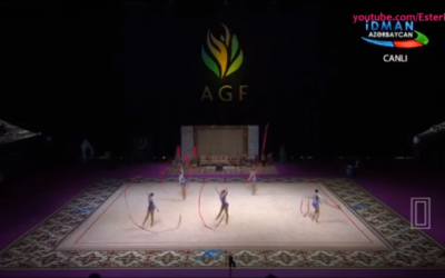 L'équipe de gymnastique rythmique d'Israël a remporté une médaille d'or à la Coupe du monde de la Fédération internationale de gymnastique à Bakou, en Azerbaïdjan (Crédit : capture d'écran YouTube)