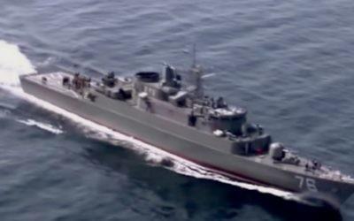 Un navire iranien lors d'un exercice dans le détroit d'Ormuz (Crédit : capture d'écran YouTube)