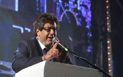Meyer Habib, député des Français d'Israël, lors de l'Olimpiada à Jérusalem, le 30 juin 2016. (Crédit : autorisation)
