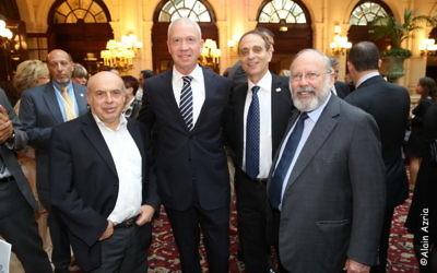 Pierre Haas, Natan Sharansky et Richard Prasquier (Crédit : autorisation/Alain Azria)