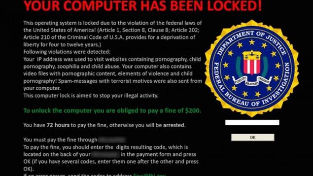 Ecran d'un ordinateur touché par un ransomware. (Crédit : autorisation)