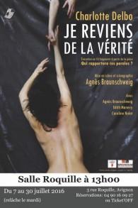 L'affiche du spectacle Je reviens de la vérité, joué par la troupe Prospero Miranda. (Crédits : autorisation)