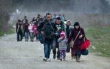 Migrants et réfugiés syriens et irakiens traversent la frontière gréco-macédonienne, près de Gevgelija, le 23 février 2016. (Crédit : AFP/Robert Atanasovski)