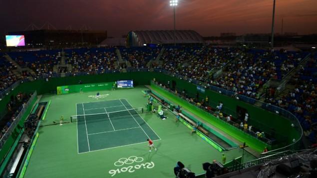 Vue du court numéro 1 du centre olympique de tennis pour les Jeux olympiques 2016 de Rio de Janeiro, le 6 août 2016. (Crédit : AFP/Martin Bernetti)