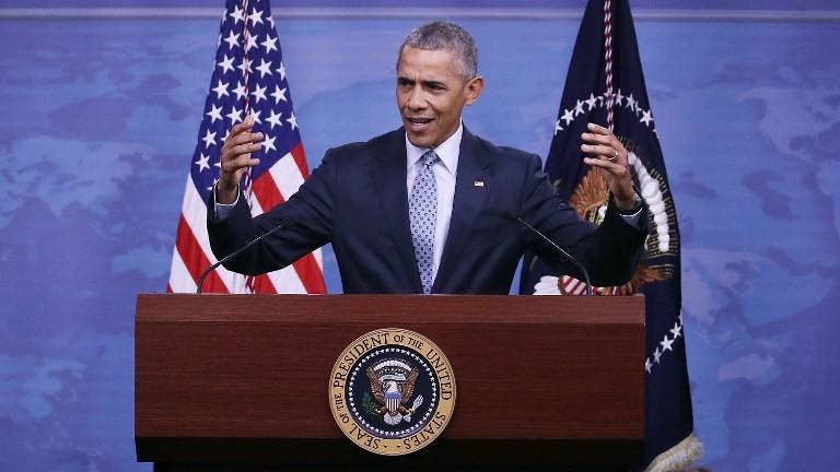 Le président américain Barack Obama s'adresse à la presse à Arlington, en Virginie, le 4 août 2016. (Crédit : AFP/Getty Images/Mark Wilson)