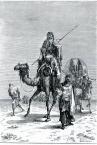 Benjamin de Tudèle dans le Sahara, au 12e siècle, dans une gravure de Dumouza. (Crédit : WikiCommons)