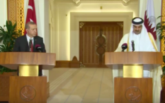 Tamim ben Hamad Al-Thani (d) et Recep Tayyip Erdogan, le 2 décembre 2015 à Doha, au Qatar (Crédit : Capture d'écran YouTube)