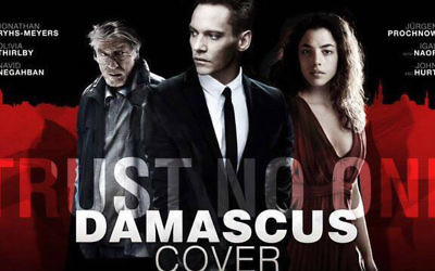 John Hurt (à gauche), Jonathan Rhys Meyers et Olivia Thirlby dans 'The Damascus Cover,' adaptation du roman de 39 ans d'Howard Kaplan. (Crédit : autorisation d'Howard Kaplan)