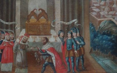 David et le prêtre Ahimelech, Mexique, début du 18e siècle. Cette œuvre d'un artiste inconnu est remarquable par sa combinaison de l'Arche d'Aliance, d'une ménorah et de la description correcte d'un prêtre juif. (Crédit : musée d'histoire du Nouveau-Mexique)