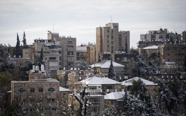 Le quartier Rehavia de Jérusalem sous la neige, le 10 janvier 2015. (Crédit : Hadas Parush/Flash90)