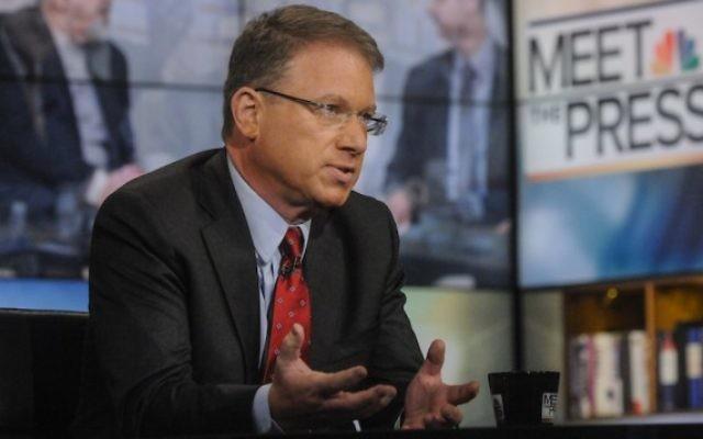 """Jeffrey Goldberg, de The Atlantic, pendant l'émission """"Meet the Press"""" de NBC à Washington, D.C., le 13 juillet 2014. (Crédit : William B. Plowman/NBC/NBC NewsWire via Getty Images via JTA)"""