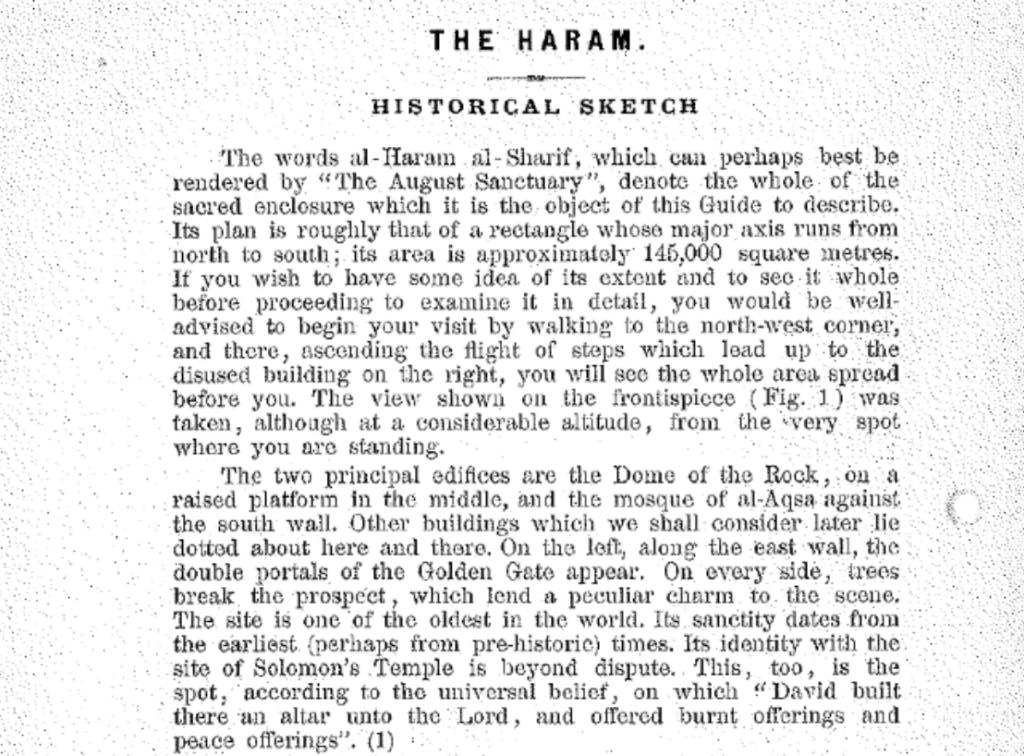 """Photo de la première page de la brochure de Waqf. Dans l'avant-dernière phrase  du deuxième paragraphe, il est écrit """"son identité avec le site du Temple de Salomon est indiscutable"""". (Crédit : capture d'écran)"""