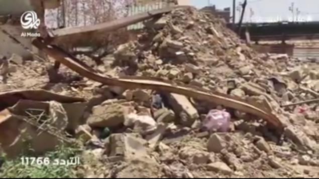 Ruines de la maison détruite de Sir Sassoon Eskell, à Bagdad, en août 2016. (Crédit : capture d'écran AlMada)