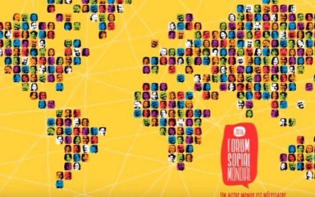 Affiche du Forum social mondial, organisé du 9 au 14 août 2016 à Montréal. (Crédit : capture d'écran YouTube/Foro social mundial)