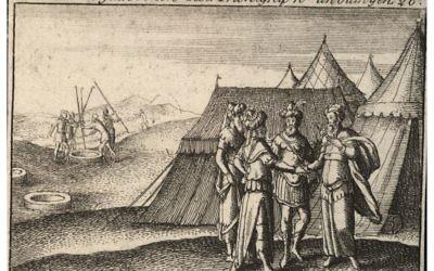 Lithographie représentant Abraham prêtant serment au roi philistin Abimélec. (Collection numérique Venceslaus Hollar de l'Université de Toronto)