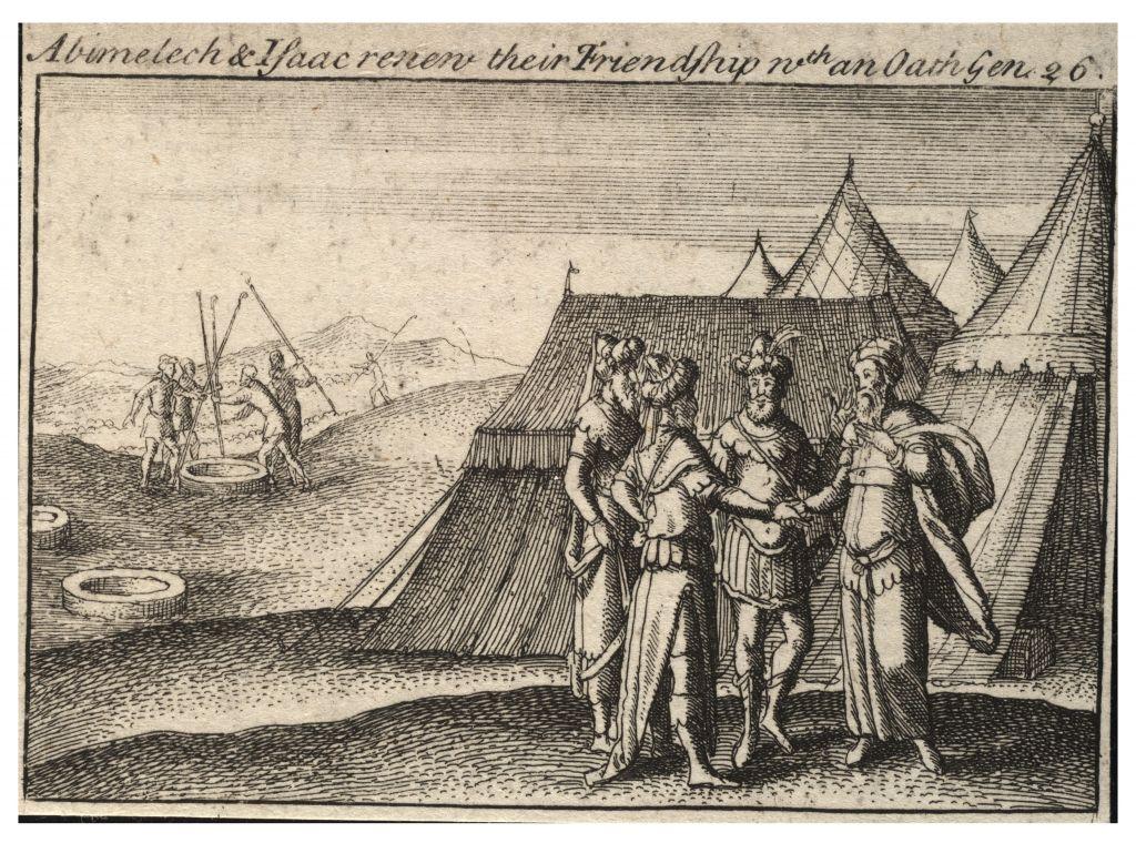 Une lithographie représentant Abraham faisant un serment au roi philistin Abimélec. (Crédit : Université de Toronto Wenceslaus Hollar Digital Collection)