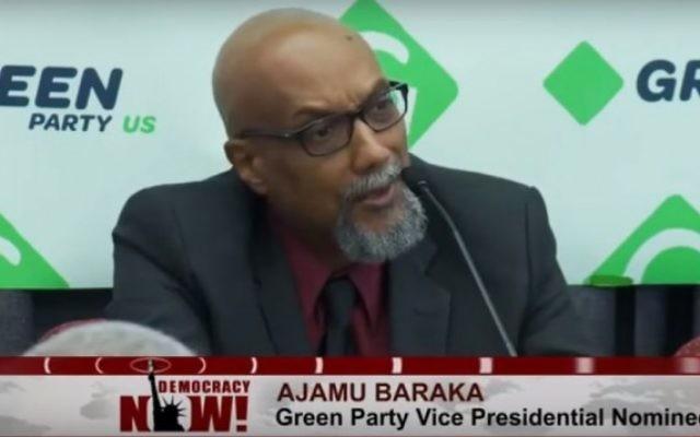 Ajamu Baraka, le candidat à la vice-présidence du Parti vert américain. (Crédit : capture d'écran YouTube/Democracy Now!)