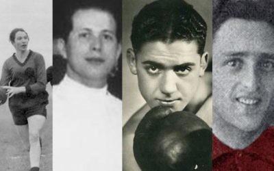 Olympiens juifs assassinés pendant l' Holocauste. De gauche à droite : Lilli Henoch, Attila Petschauer, Victor Perez et Eddy Hamel. (Crédit : domaine public)