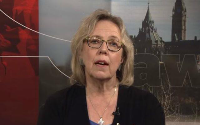 La présidente des Verts canadien, Elizabeth May. (Crédit : autorisation)