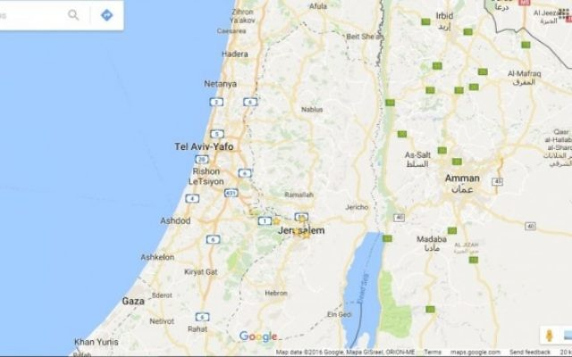 Google Maps légende la Palestine ou la Cisjordanie. (Crédit : capture d'écran Google Maps)